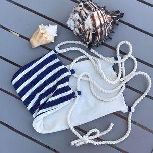 Other - Nautical stripped strapless bikini top braided tie